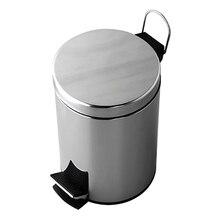 Ведро для мусора с педалью WasserKRAFT K-635 (Хромоникелевое покрытие, нержавеющая сталь, ABS - пластик)
