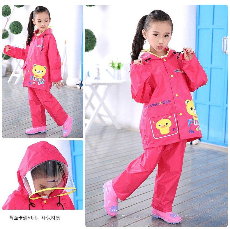Child Raincoats Rainwear Cute Bear Kids Schoolbag Colorful Big Rain coat suit Ponchos For Boys Girl Travel Trench Chubasquero in Raincoats from Home Garden