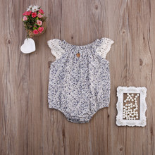 2017 New Arrival Retro Floral Newborn Baby Girls Clothes Lace stitching Floral Romper Jumpsuit Playsuit Outfit(China)