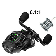 High Speed 17 + 1BB Bearings 8.1:1 Fishing Reel Metal Left / Right Hand Baitcasting Fishing Reel with Magnetic Brake System