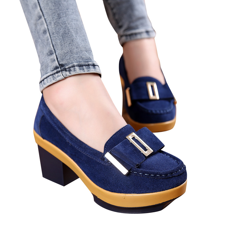 2017 Women pumps platform shoes suede Leather Metal buckle Bow tie High  square Heels Ladies wedge 0682e95d1667