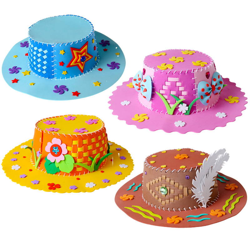 EVA Foam Paper Weaving Hat Creative Flowers Stars Patterns Kindergarten Art Children DIY Craft Toys Girls Hat DIY Decorations