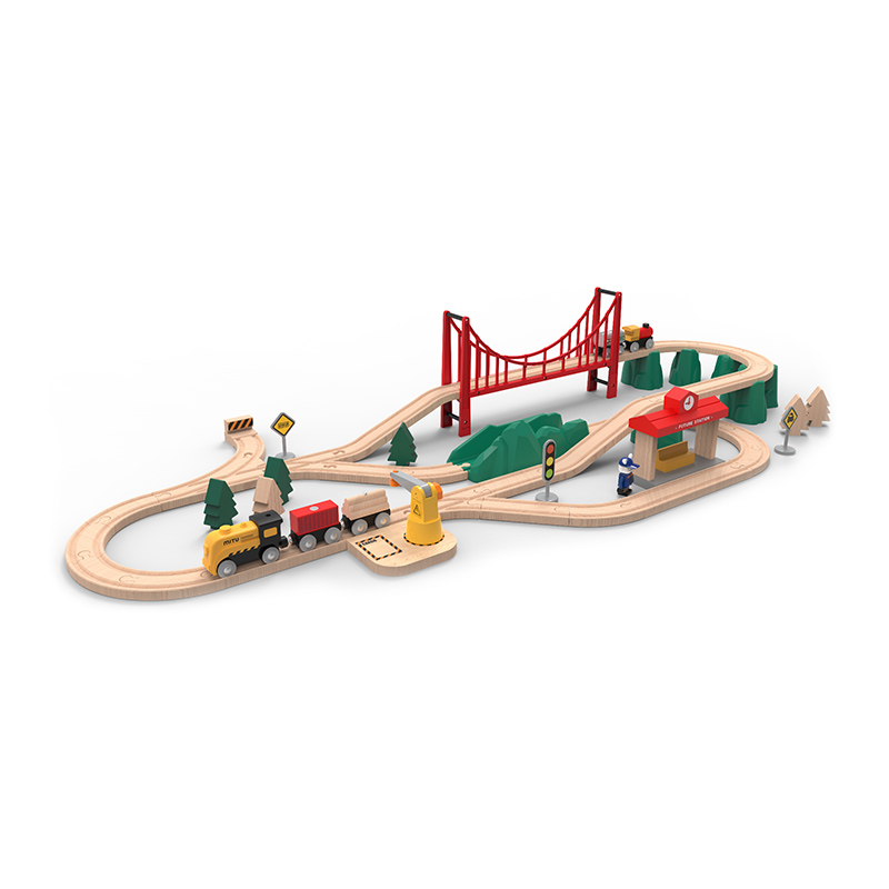 Wooden Train Track Railway Accessories Red Big Size Rainbow Bridge S Track Bridge Pier Pieces Blocks Toys bloques construccion