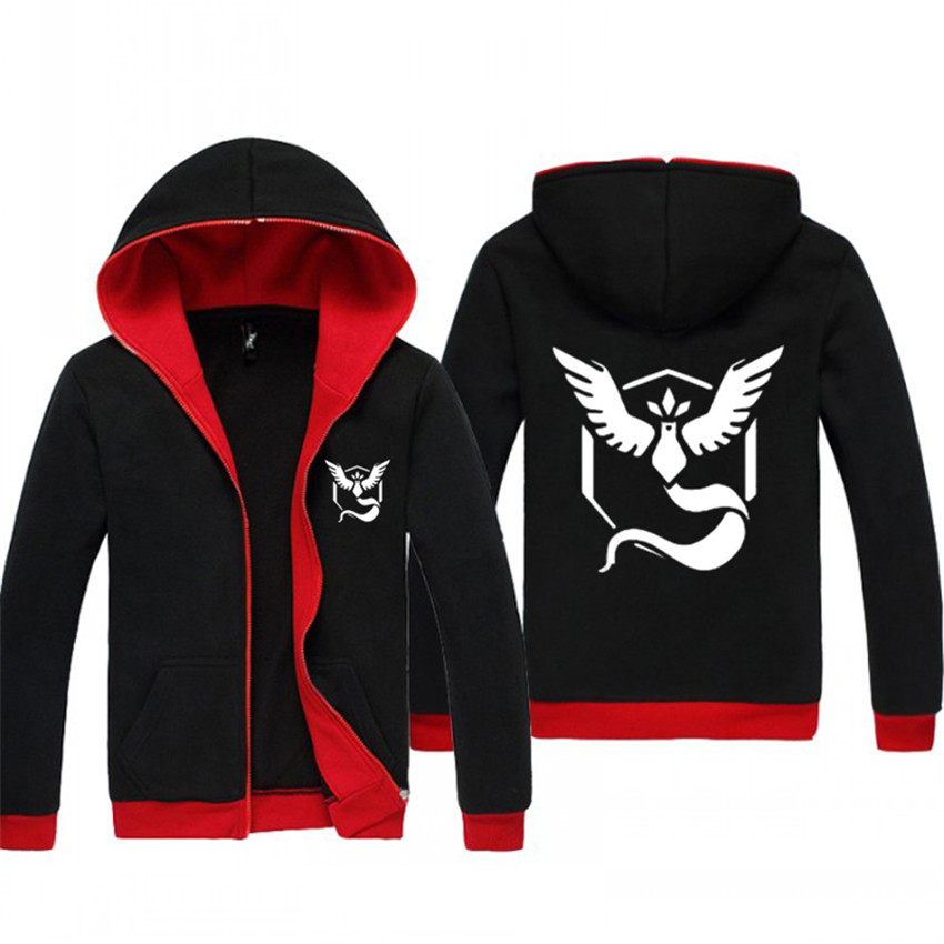Pokemon Go Anime Hoodies Zipper Clothing Team Valor Mystic Instinct Lminous Cosplay Jacket Black Mens Sweatshirts Hoody Coat