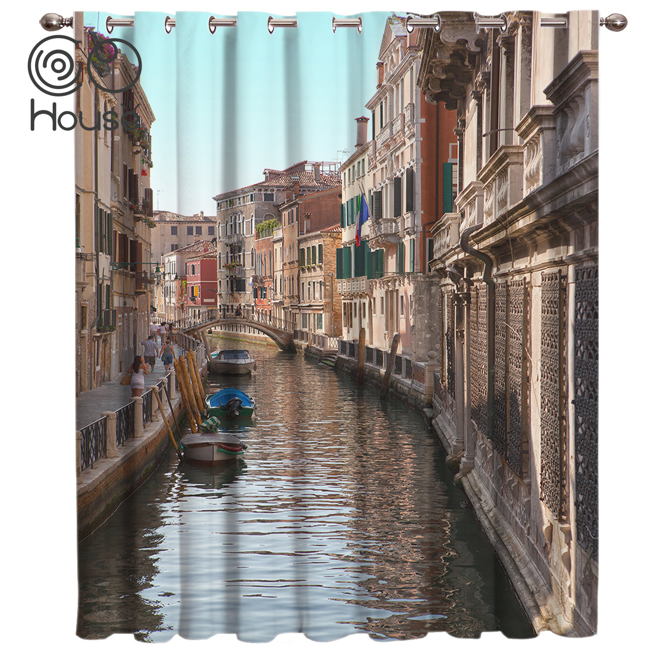 COCOHouse Venice Europe City Window Curtains Dark Living Room Blackout Bathroom Bedroom Outdoor Indoor Decor Print Kids Curtain