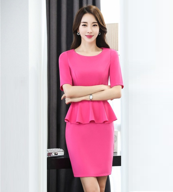 Summer Women Business Suits Formal Office Work Wear Two Piece Skirt And Top Sets Las
