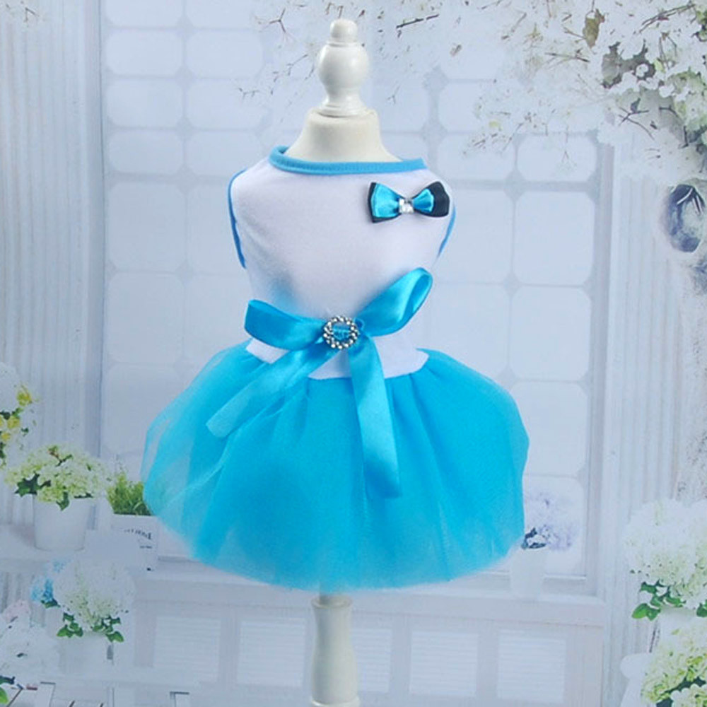 NEW 0-3 Years Blue Summer Wedding Dress Pet For Small Dogs Lace Cat Party Princess Pet Apparel NO# dropship