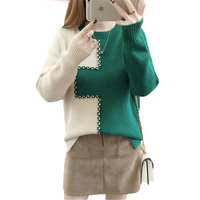 Pullovers Sweaters Women Autumn New Korean 2017 Long Sleeves Shirt Female Stitching Tops Winter Loose Knitted