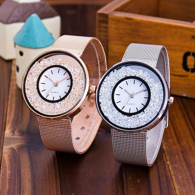 QCC brand women's fashion gold silver quartz watch ladies casual stainless steel