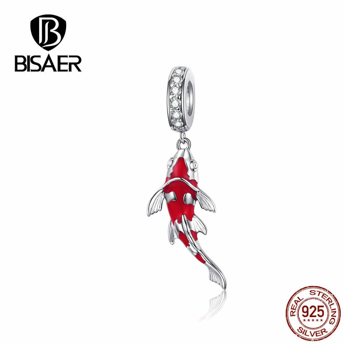 Bisaer 925 เงินสเตอร์ลิงจีน Lucky Red ปลาคาร์พจี้ Charms เคลือบอัญมณีสำหรับสตรี 925 สร้อยข้อมือของขวัญ GAC085