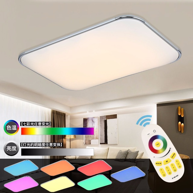 Modern led ceiling lamp remote group rgb ceiling lights for Deckenleuchten wohnzimmer modern led