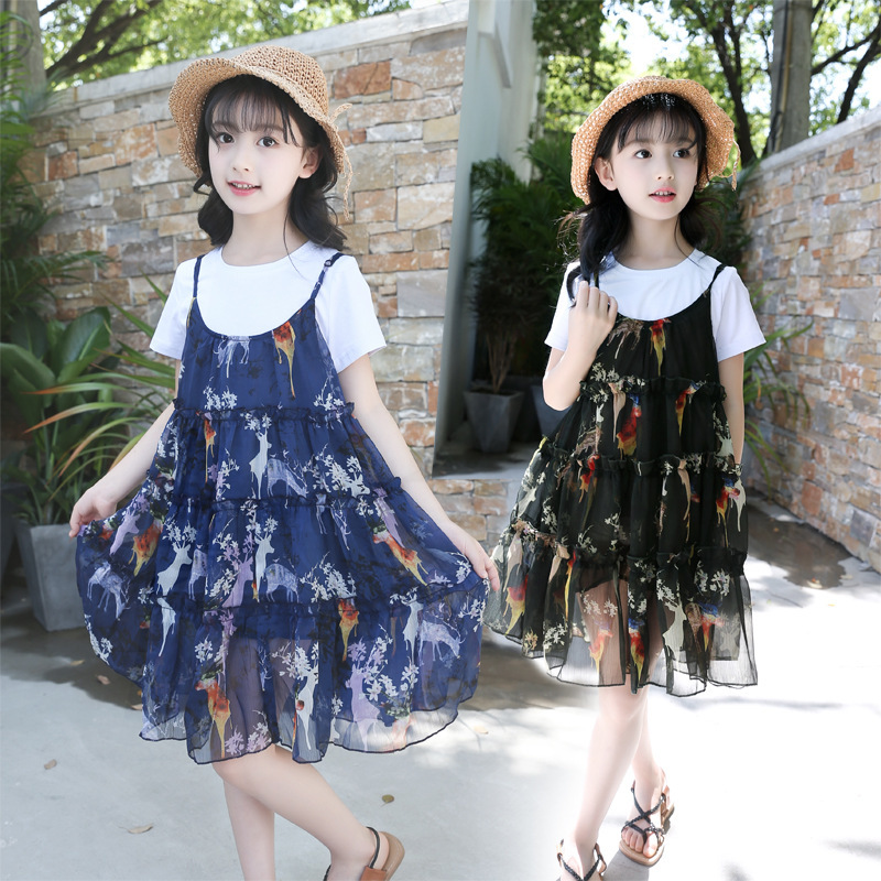 Girls 2018 New Summer Neck Short Sleeve Top + Sling Chiffon Princess Skirt Children's Clothing Two Piece Set #2 stylish round neck short sleeve crop top bodycon skirt twinset for women