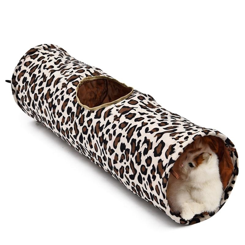 Leopard Cat Tunnel with Soft Ball Cat Rabbit Toys Play Tunnel - Produkty dla zwierząt domowych - Zdjęcie 2