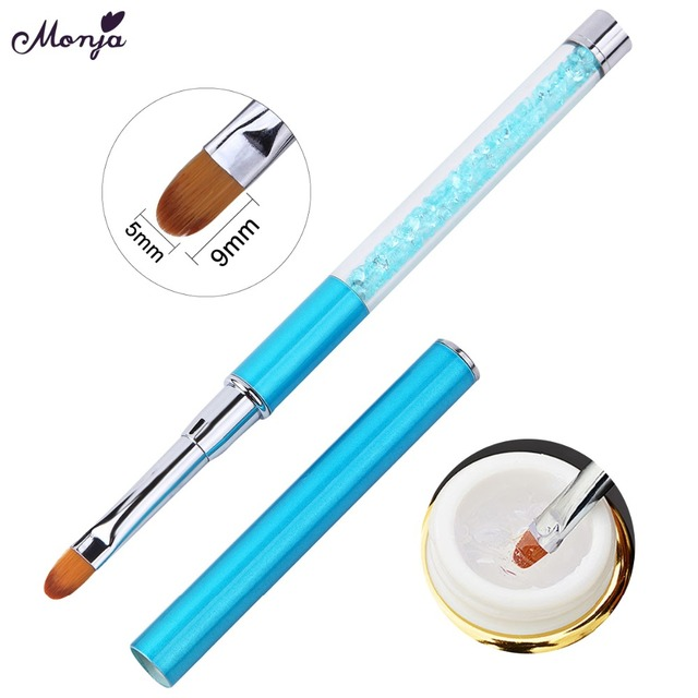 Monja Nail Art Rhinestone Acrylic Handle Carving Nails UV Gel Painting Brush Lines Liner DIY Design Drawing Pen Manicure Tool 3