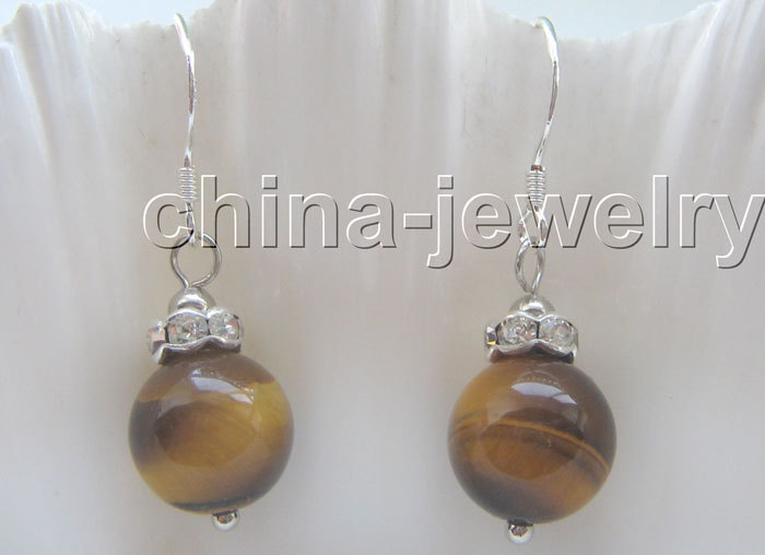 Gorgeous 10 mm natural round tiger eye earrings 925