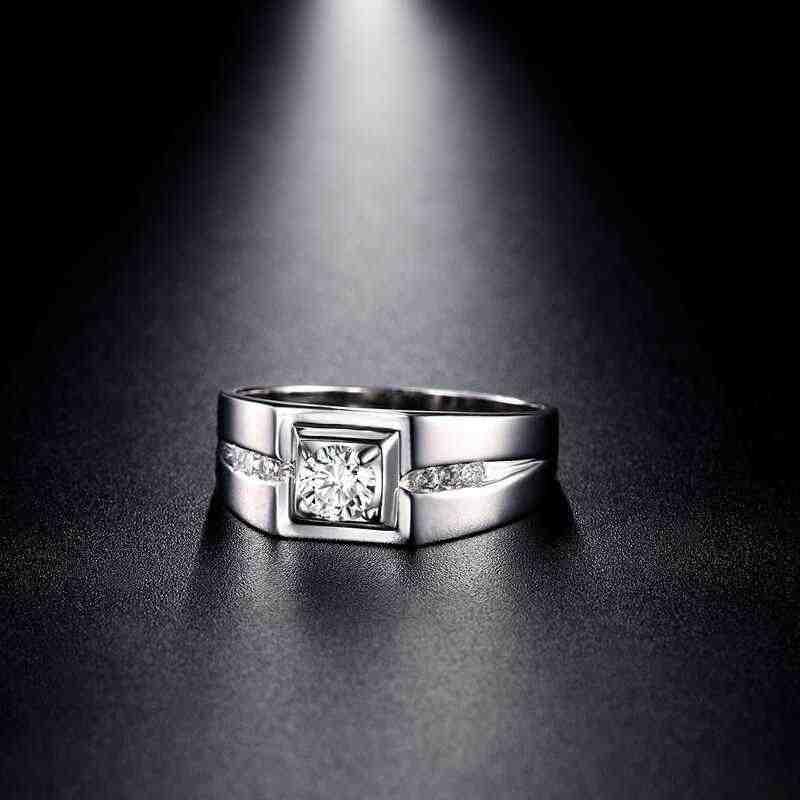90% OFF! ส่งใบรับรอง! Real 925 เงินแหวนผู้ชายเครื่องประดับ Inlay Cubic Zircon แหวนหมั้นสำหรับชาย ZSRJ29