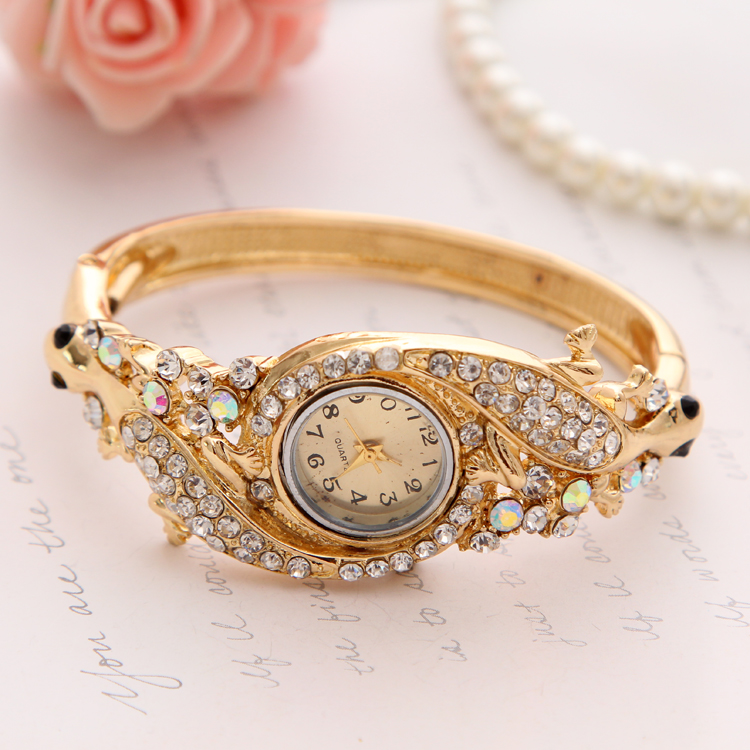 Hesiod Luxury Rhinestone Watch Jewelry Women Dress Accessory Gold Austrian Crystal Quartz Bracelet Bangle Watches Fashion Style