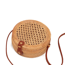 Round Porous hollow Retro Style Straw Handbags Women Rattan Shoulder Bags Handmade Woven Bohemia Crossbody bag New Fashion