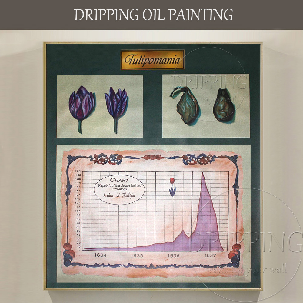 Top Artiste Main-peint Significative Tulipe Peinture À L'huile Plus Grande Bulle Histoire Pièce Spéciale de Art Tulipe Huile peinture