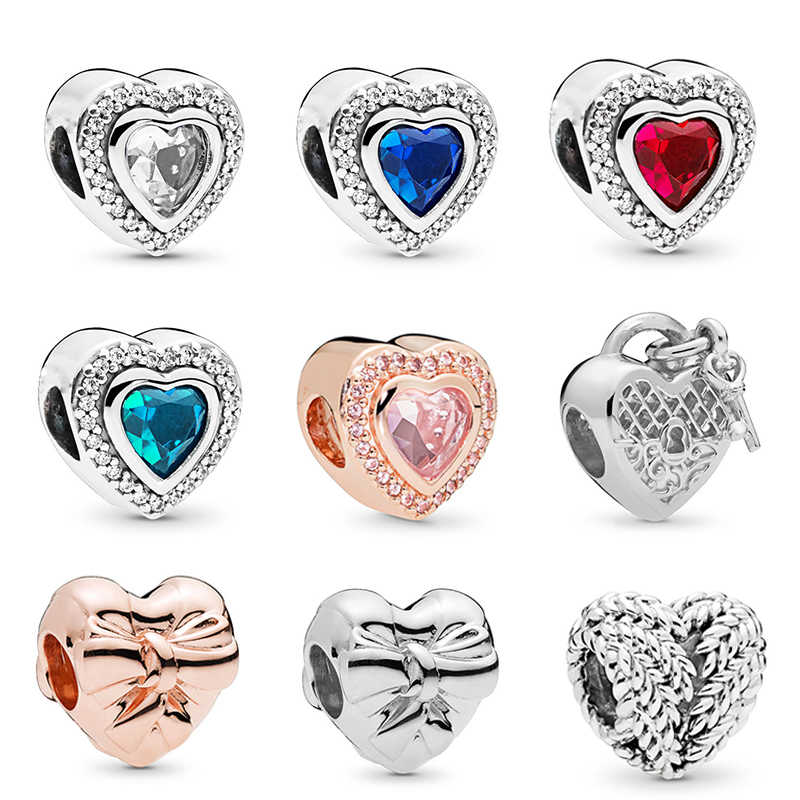 2Pcs/lot Love Heart Beads Charms Pandora Bracelets Necklaces For Women Fit Original DIY Bracelets Necklaces Fashion Jewelry