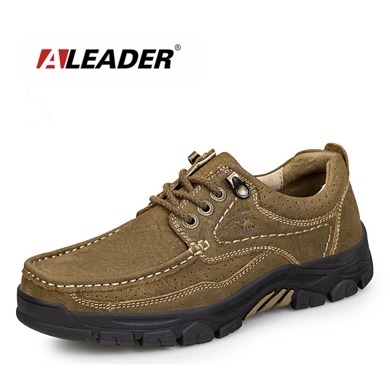 Aleader Brand Camel Genuine Leather Men Shoes Casual Outdoor Soft Working Oxford For Men Big Size Mens Walking Flats Shoes Sale
