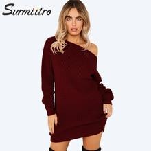 1d9d0abf30 Surmiitro Sexy Off Shouder Długi Sweter Z Dzianiny Sukienka Kobiet 2018  Jesień Zima Fashion Red Kobiety Jumper I Swetry Pull Fem.