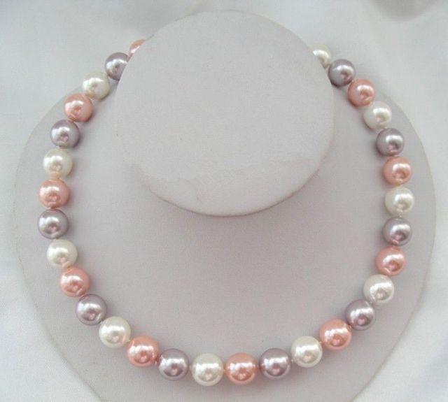 Venda Hot new Style >>>>> 17 polegada 10mm rosa branco e roxo multicoloridos shell pingente colar de pérolas