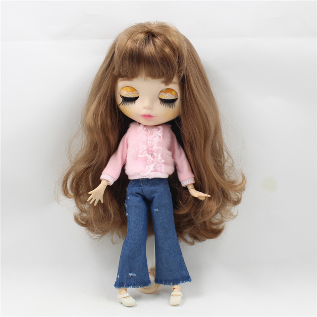 Neo Blythe Doll Pink Lace Shirt Blue Jeans