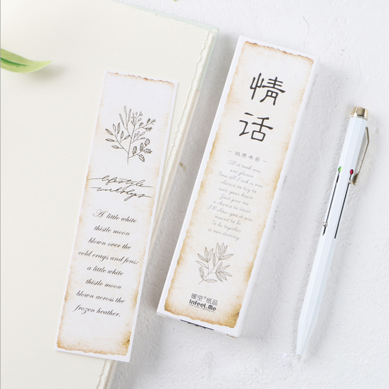 30 Pcs/pack Kawaii Creative Love Words Student Stationery Bookmark Paper Cartoon Promotional Gift Office Stationery Bookmark