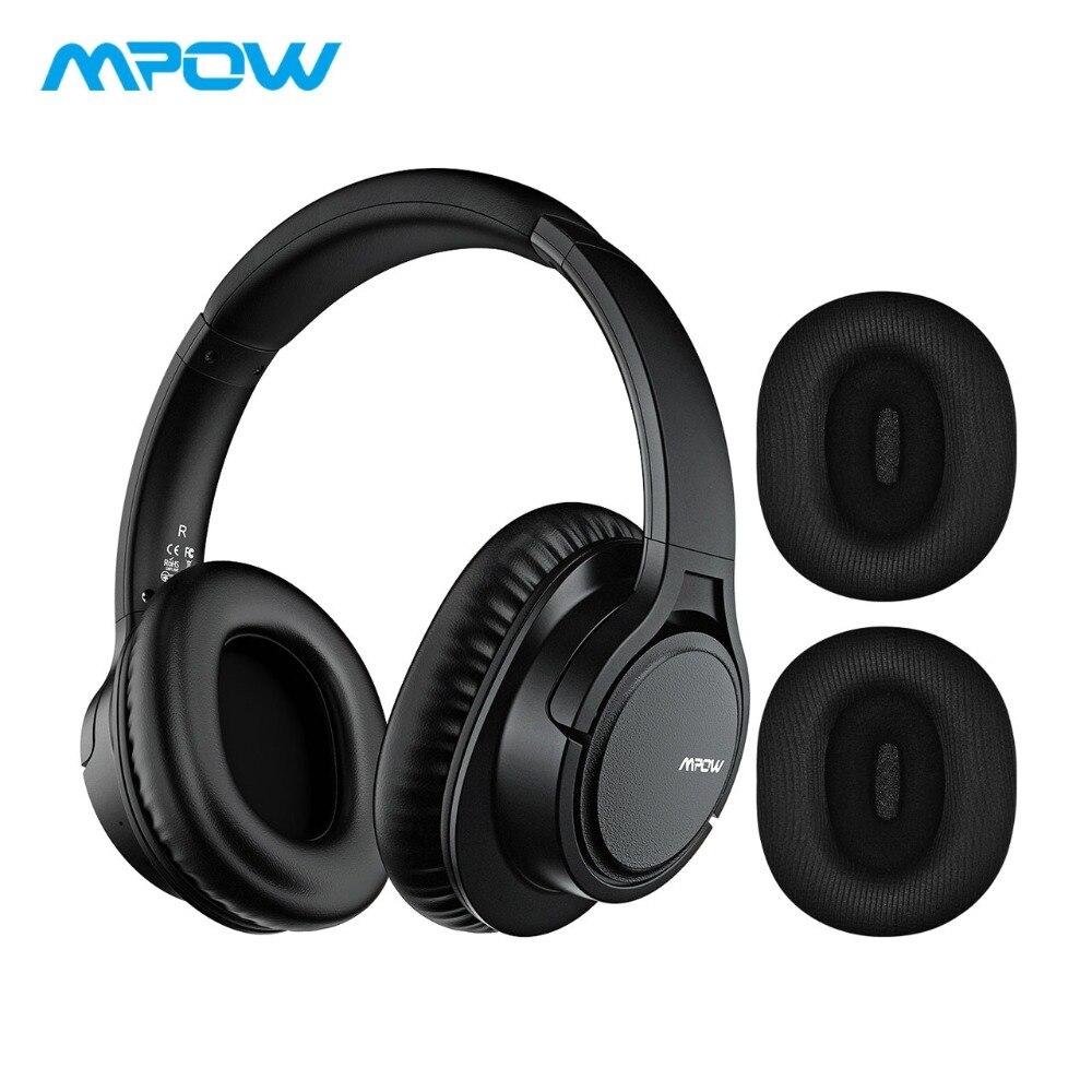 e09d6228ee5 Mpow H7 súper suave grandes orejeras auriculares inalámbricos APTX  cancelación del ruido auriculares con micrófono y Extra orejeras y llevar  bolsa
