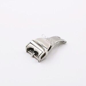 Image 2 - Carlywet 18mm prata 316l aço inoxidável pulseira de relógio fivela implantação fecho para menos 2.5mm para tudor borracha correia de couro