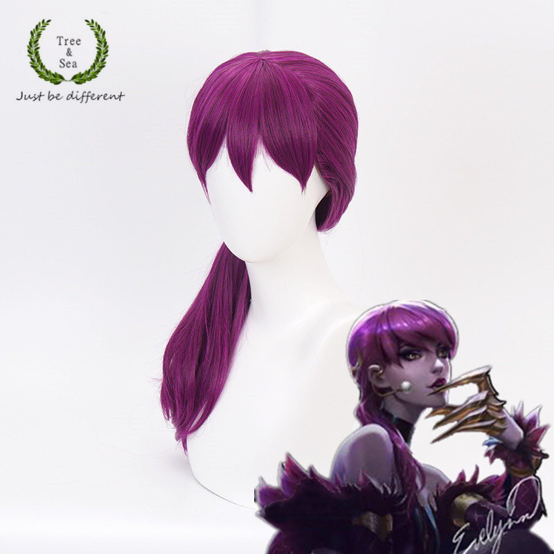 Game LOL WOMEN ROLE PLAY  KDA Team Evelynn Cosplay Wig Long Evelynn beautiful purple long hair  Wigs Costumes