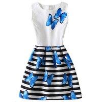 FunnyABC Summer Dress For Girl Casual Princess Dress Print Sleeveless Butterfly Girls Dress A Line Vestidos