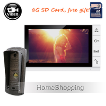 New 9″ Color Video Door phone Intercom Recording System + 1 Waterproof Outdoor Camera + 1 White Monitor + 8G SD FREE SHIPPING