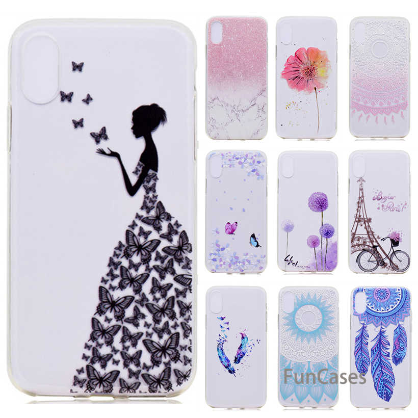 Case For Huawei P10 P9 Plus P8 Lite 2017 Silicone Case For Huawei P9 Lite Mini P9 P10 Transparent Soft Flower Back Case