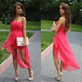 Vestido Real Draped Party Dresses 2017 New Free Shipping ! Cheap Price Front Long Back 30d Chiffon Cocktail Dresses Oc3390