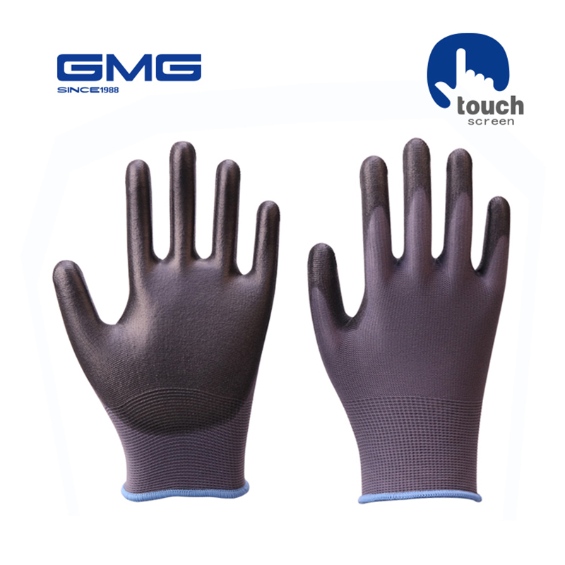 Touch Screen Gloves Work GMG Grey Polyester Shell Black PU Coating Safety Work Gloves Safety Gloves WorkingTouch Screen Gloves Work GMG Grey Polyester Shell Black PU Coating Safety Work Gloves Safety Gloves Working