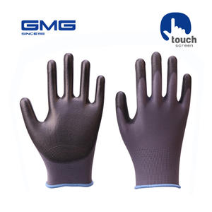 Touch Screen Gloves Work GMG Grey Polyester Shell Black PU Coating Safety Work Gloves Safety Gloves Working