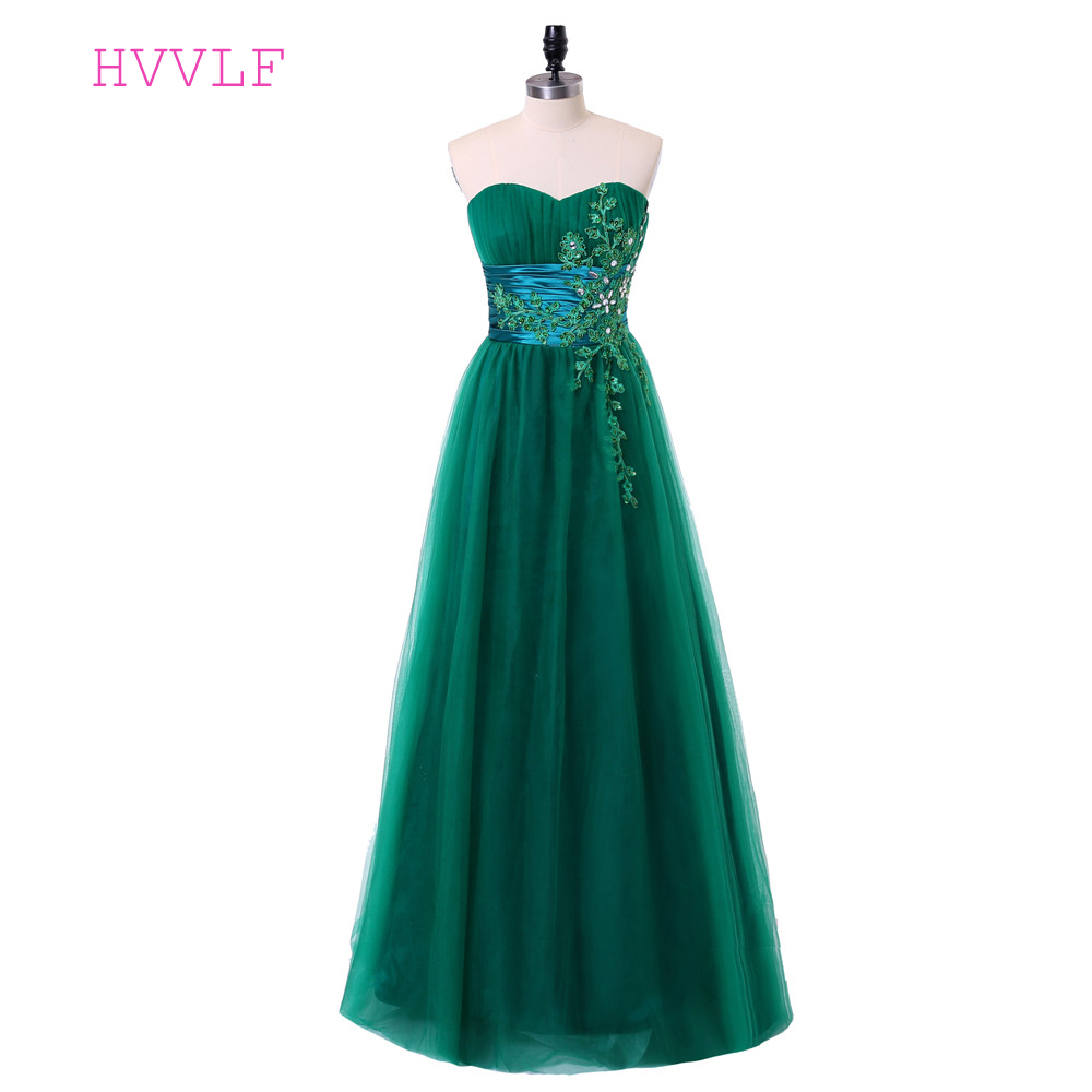 Green   Evening     Dresses   2019 A-line Sweetheart Tulle Lace Appliques Crystals Backless Long   Evening   Gown Prom   Dress   Robe De Soiree