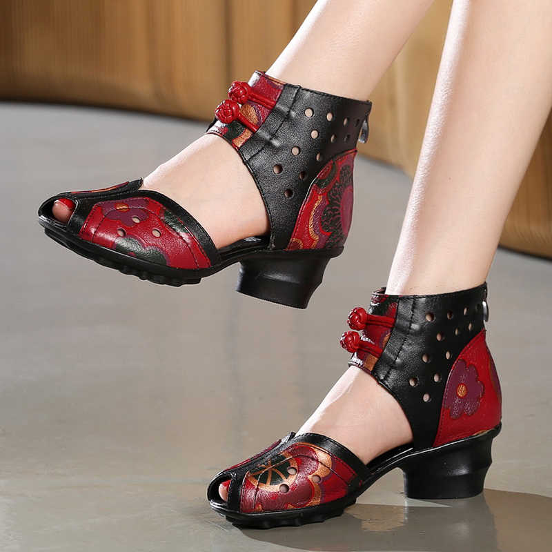 2019 Summer Women Shoes Thick With Heels Platform Genuine Leather Sandals Handmade Flower Cover Toes Comfortable Women Sandals