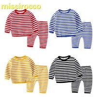 Baby flannel suits children pajamas kids Fleece Winter stripe two piece children homewear