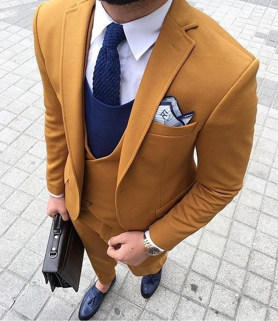 2018 Latest Coat Pant Designs Yellow Brown Double Breasted Men Suit
