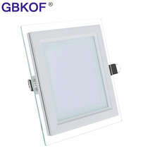 Cheap LED Panel Downlights 6W 12W 18W Square Glass ceiling recessed lights SMD5630 Warm White/Cold White Luz Del Panel free ship
