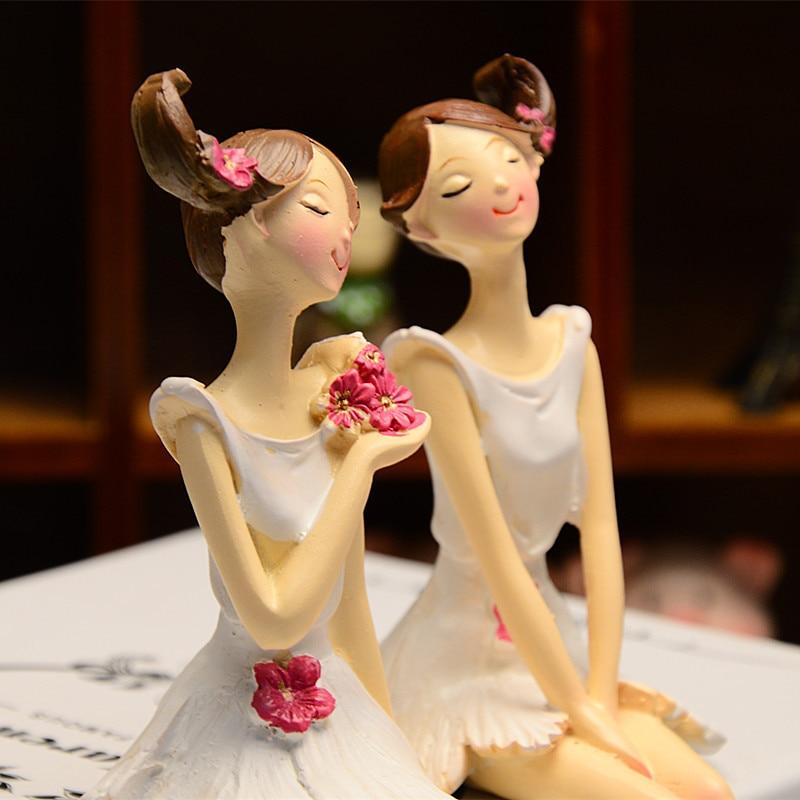 2 pcs / set Indah Malaikat Resin Kerajinan Peri Figurines Hadiah - Dekorasi rumah - Foto 2