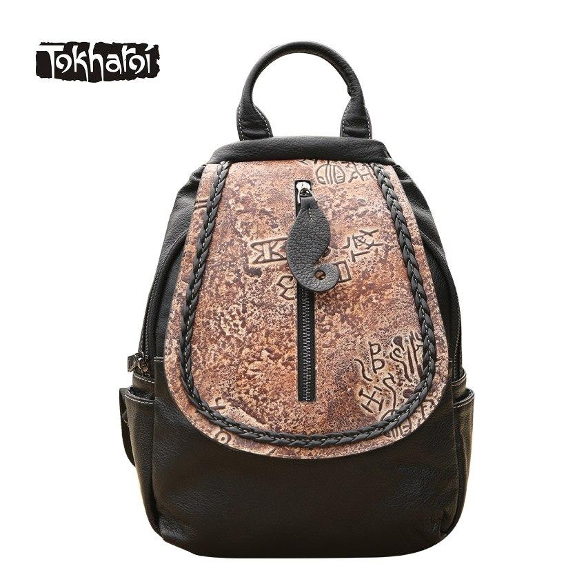 Tokharoi Brand Women Genuine Leather Backpack Vintage Appliques Pattern Bag Flap Cover Pocket Shoulder Bag National Style Design