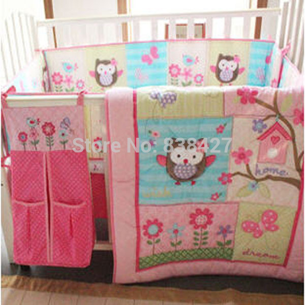 Ups Free 100 Cotton 7 Pieces Owls Baby Girl Bedding Set Pink Embroidery Quilt Nursery Cot