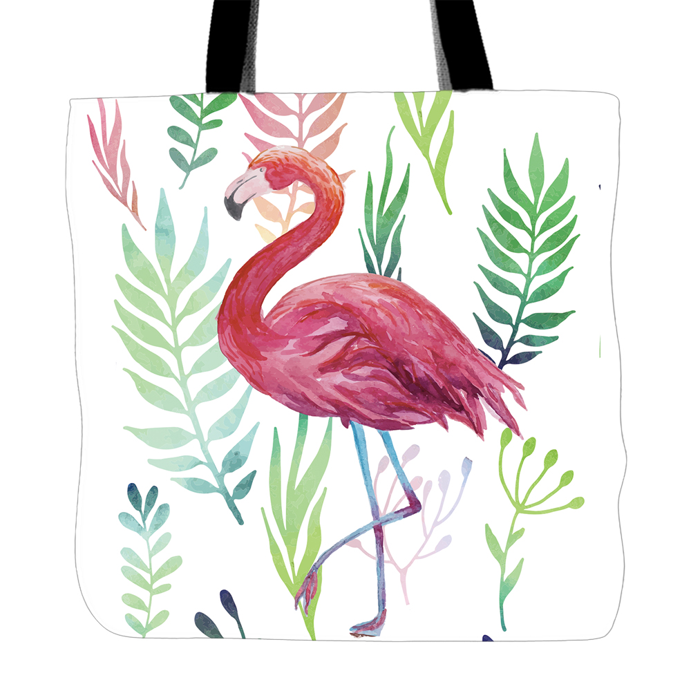 Flamingo Designs Printing Tote Bag For Shopping Travel School Double Sided Printing White Canvas Hand Bags