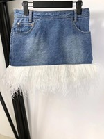2019 сезон весна лето женская новая джинсовая юбка перо юбка с изображениями мозаики 0422