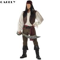 Mens Pirate Kostuum Corsair Captain Cosplay Top Vest Broek Zwaard Set Masquerade Ball Fancy Party Halloween Kostuum Outfits