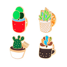 Cartoon Green Bonsai Flower Cactus Brooch Enamel Pin Brooches for Decorative Clothing Pins Badge  Women Accessories